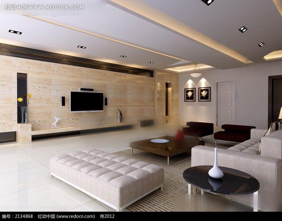 大理石电视墙客厅效果图max