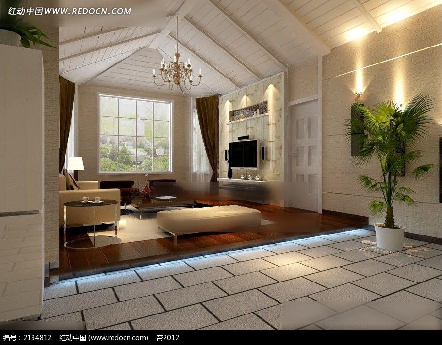 坡形屋顶客厅效果图max