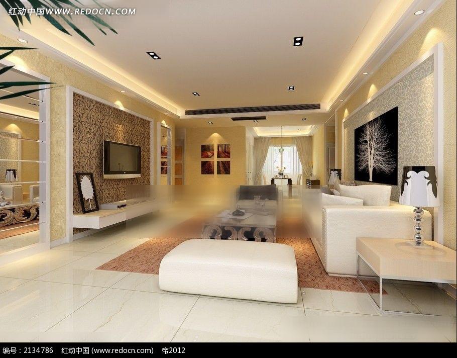 欧式墙纸客厅装修效果图max