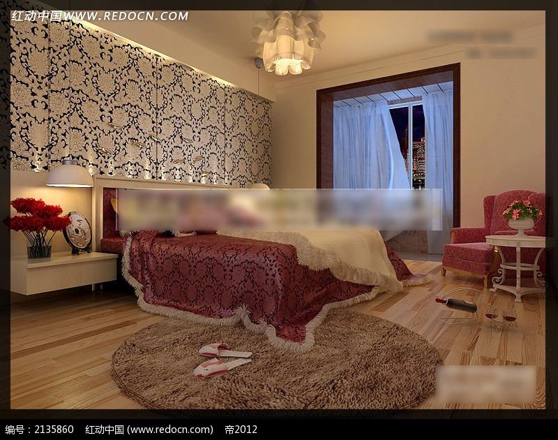 欧式双人床卧室阳台效果图图片