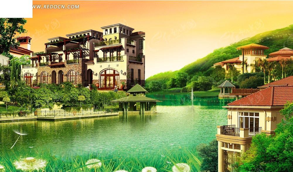 湖边的别墅效果图psd免费下载_建筑雕塑素材