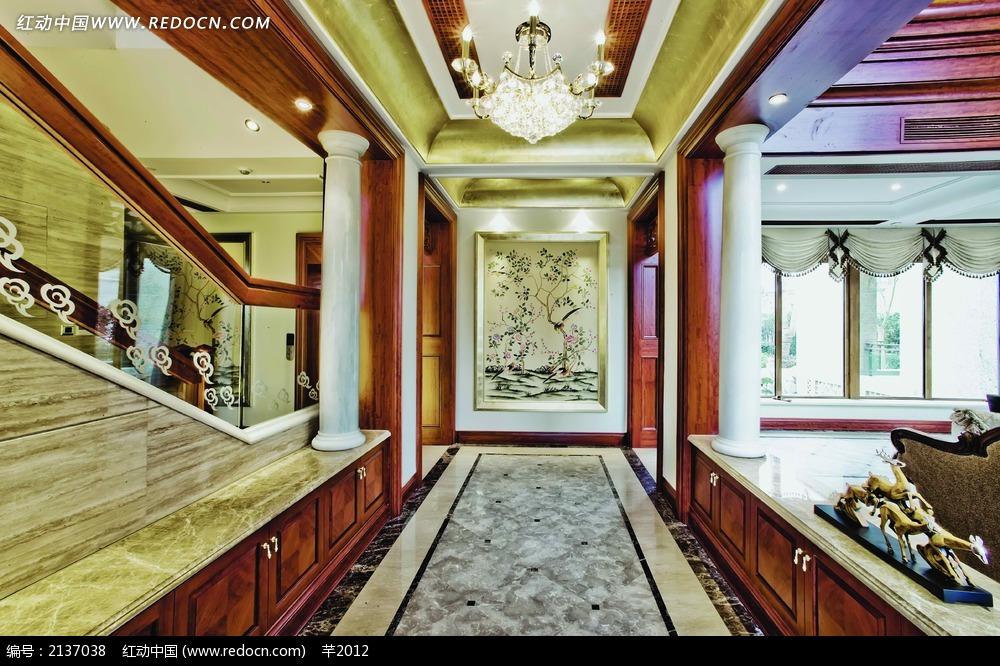 欧式别墅过道走廊装饰效果图_室内设计图片图片