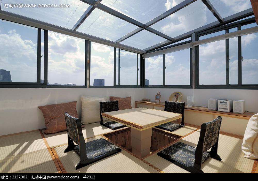 日式阳台桌椅设计图_室内设计图片