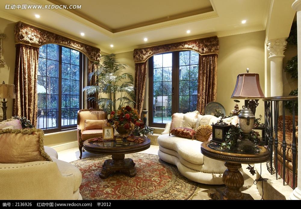仿古欧式别墅客厅设计图图片