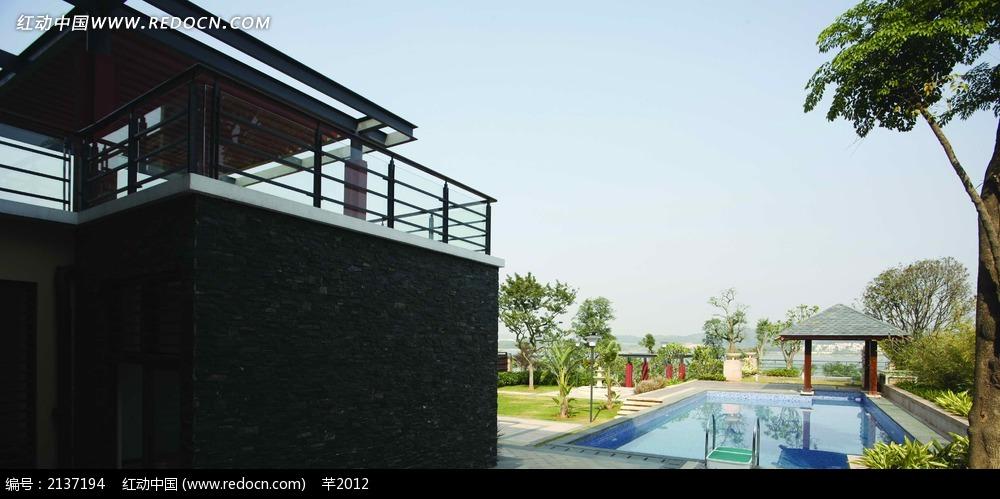 别墅游泳池设计图图片免费下载 红动网
