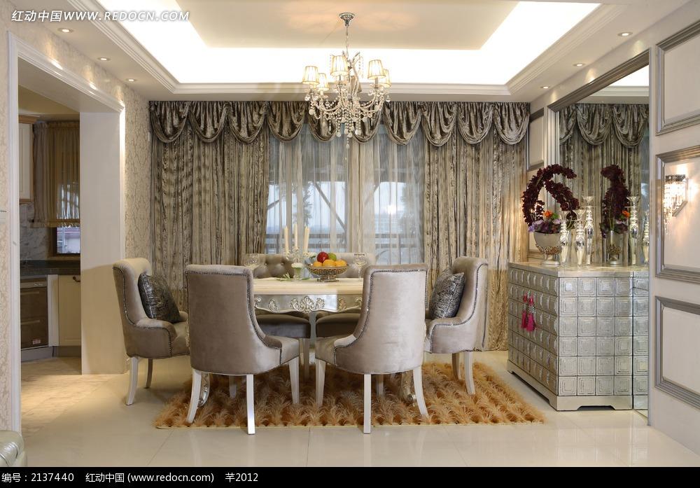 欧式圆桌饭厅设计图