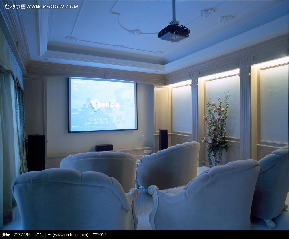 欧式家庭影院摄影图片jpg_室内设计图片_红动手机版