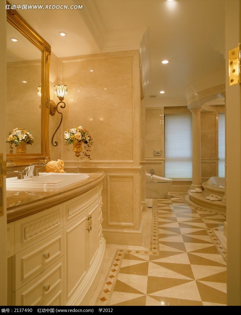 欧式家居地板洗手台设计图图片