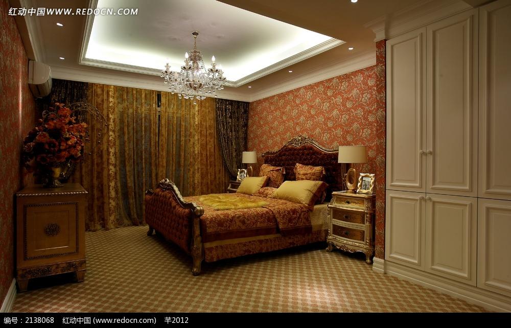 欧式卧室大床装饰效果图