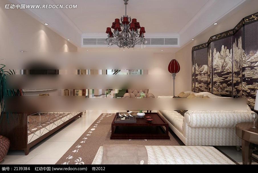 中欧混搭客厅装修效果图max3dmax免费下载_室内设计图片