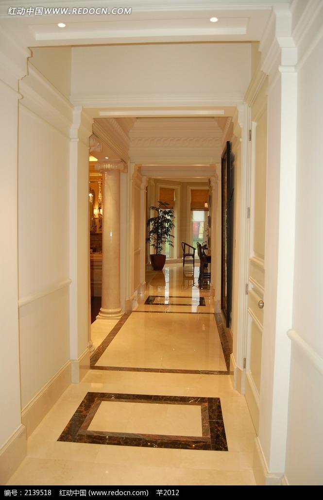 欧式风格墙面走廊高清图图片