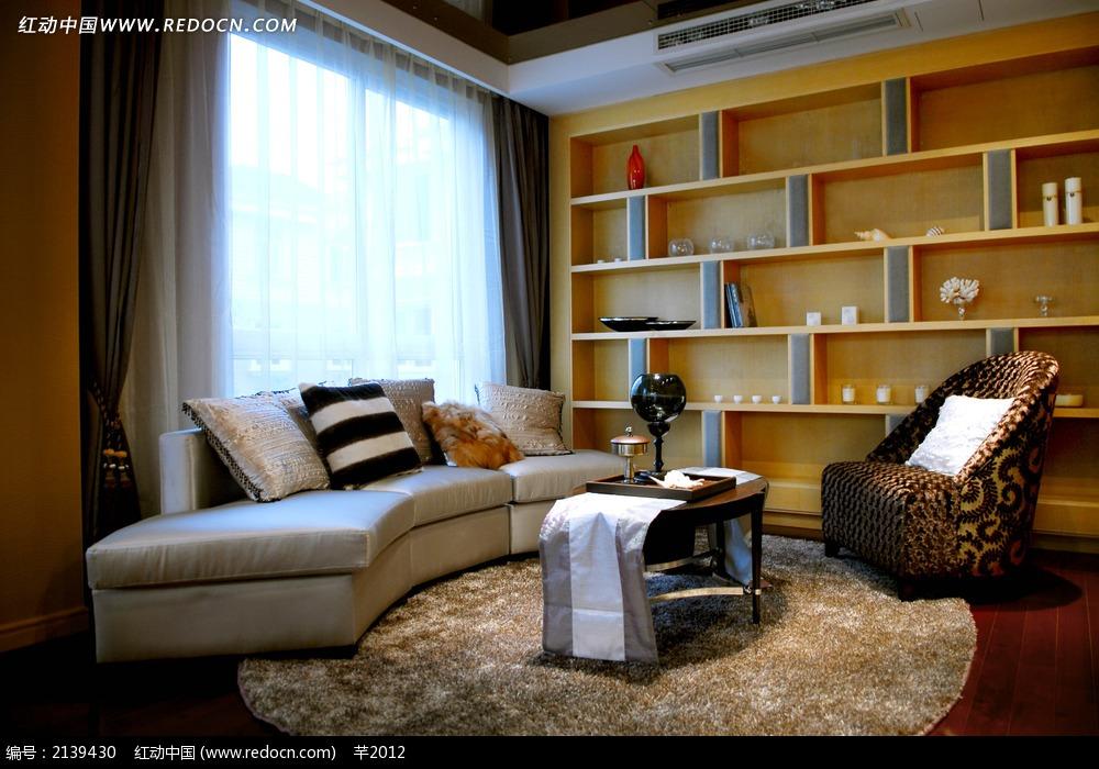 会客厅沙发书柜设计图
