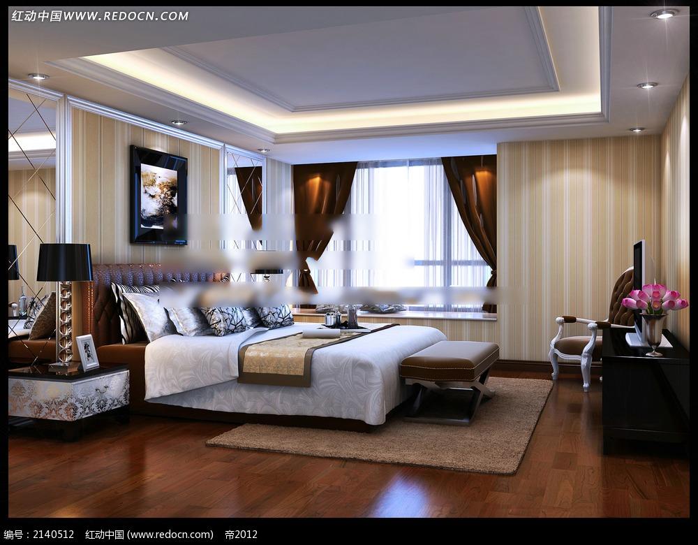 现代欧式卧室设计效果图max
