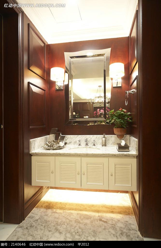 木质墙面洗手池图片_室内设计图片