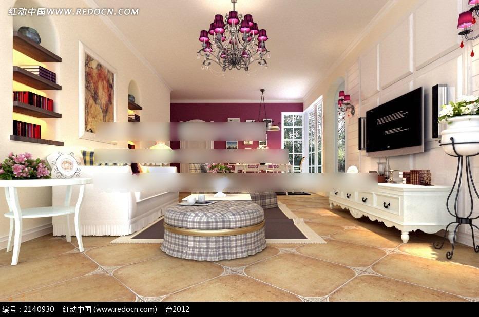 免费素材 3d素材 3d模型 室内设计 欧式白色家具客厅效果图max  请您
