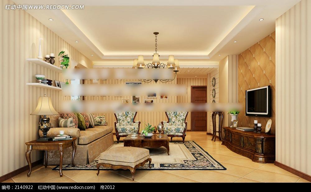黄色竖条纹墙纸客厅效果图max