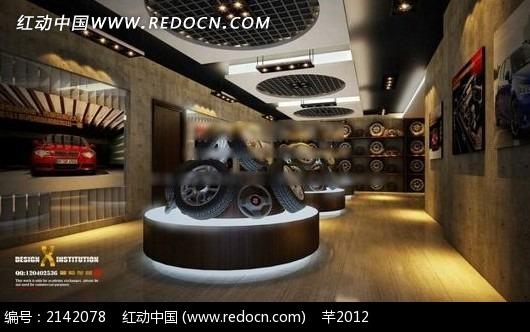 汽车轮胎销售店室内效果图3dmax免费下载_展示模型素材