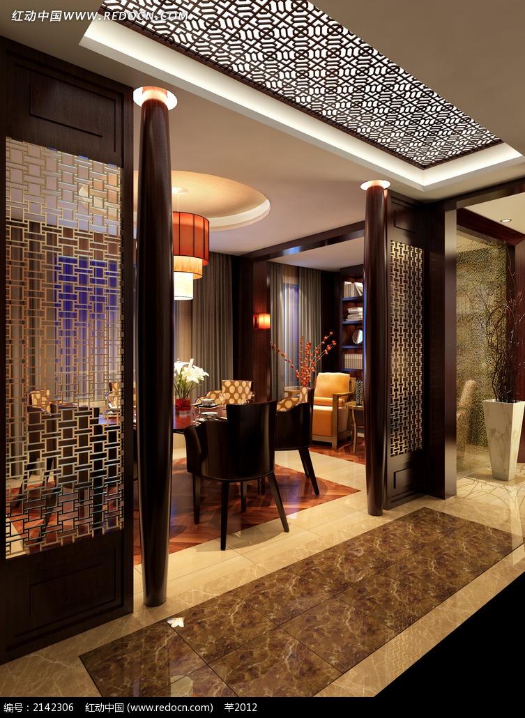 中式酒店包厢室内设计效果图图片