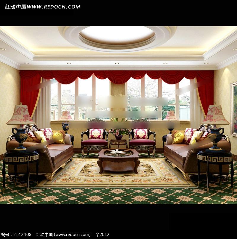 欧式复古家居会客厅效果图图片