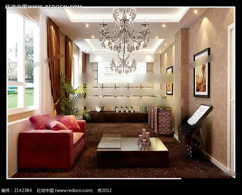 温馨欧式客厅效果图3dmax免费下载_室内设计素材