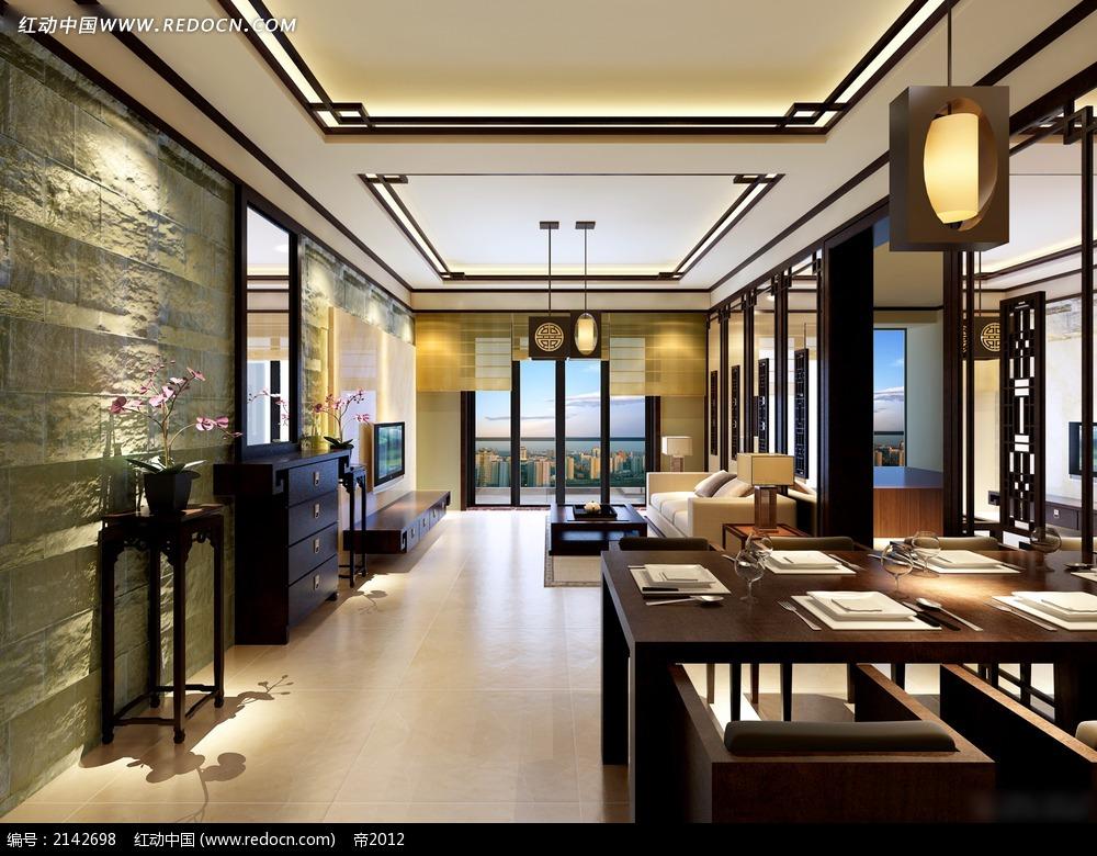 中式家居客厅饭厅效果图3dmax免费下载_室内设计素材