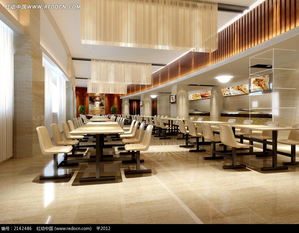 中式快餐厅效果图图片