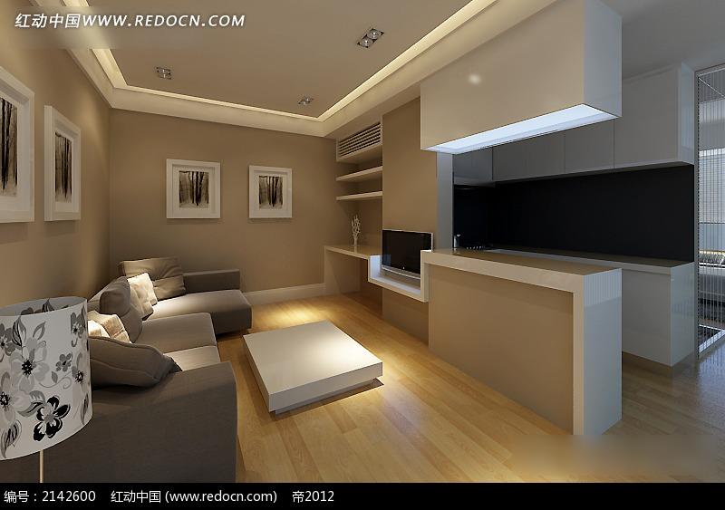 免费素材 3d素材 3d模型 室内设计 简约客厅沙发陈设效果图  请您分享