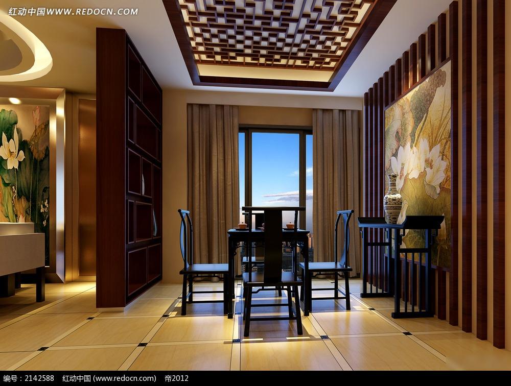 中式背景墙木质饭厅效果图3dmax免费下载_室内设计素材