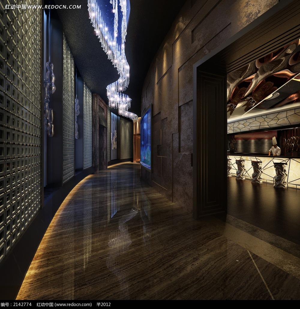 酒店花纹 装饰墙效果图 室内设计高清图片
