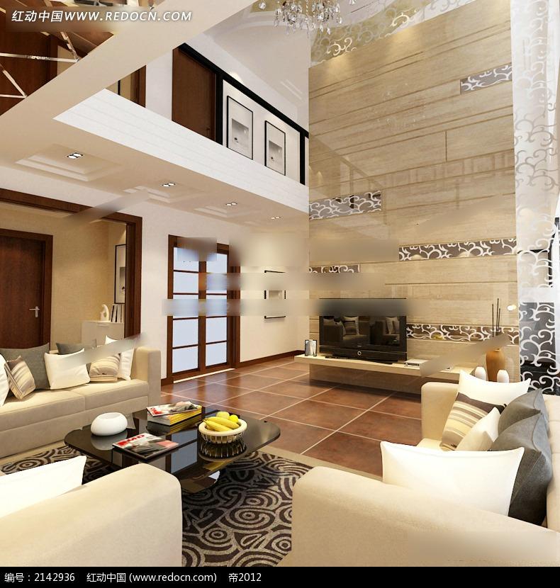 现代复式客厅装修效果图图片