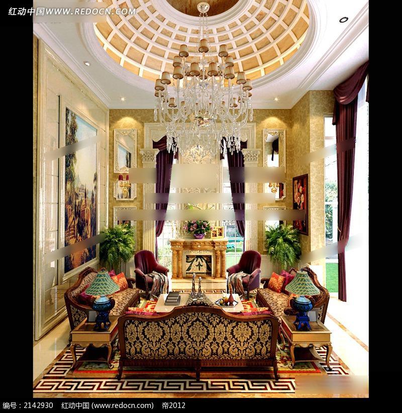水晶吊灯复古欧式客厅效果图3dmax素材免费下载(编号)