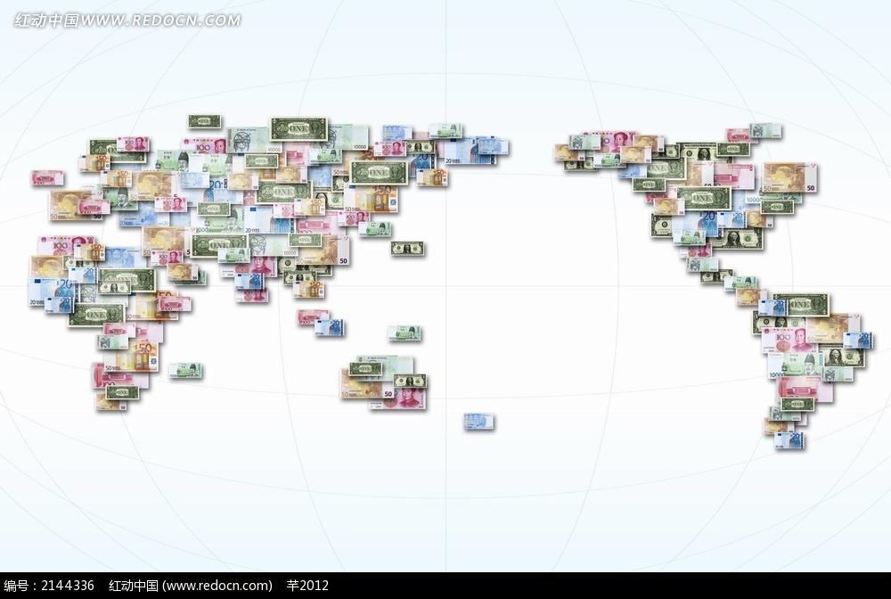 钱币拼成的地图背景海报设计