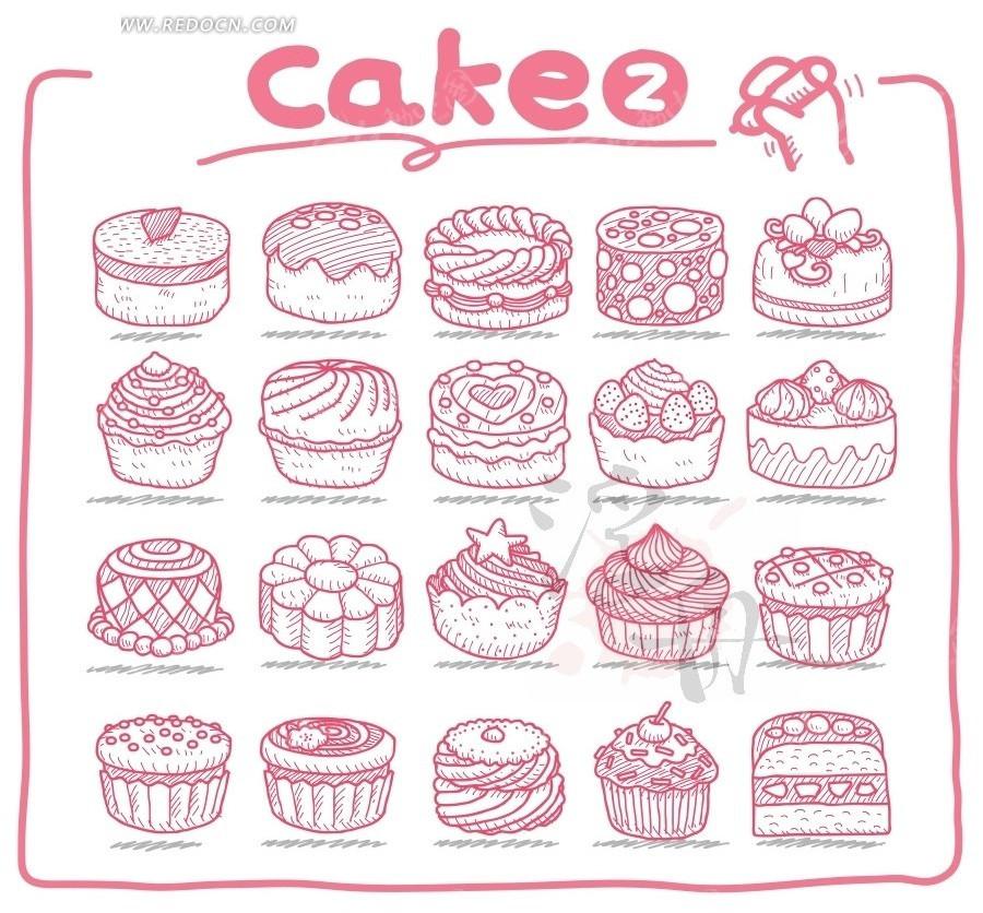 > 蛋挞蛋糕手绘图案  奶油蛋糕 糕点 美食 甜点 糕饼 点心 手绘 线条