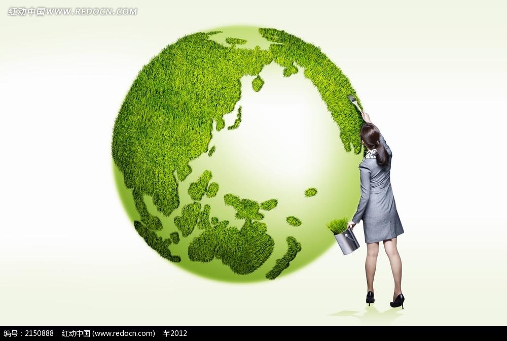 种植绿色地球背景素材