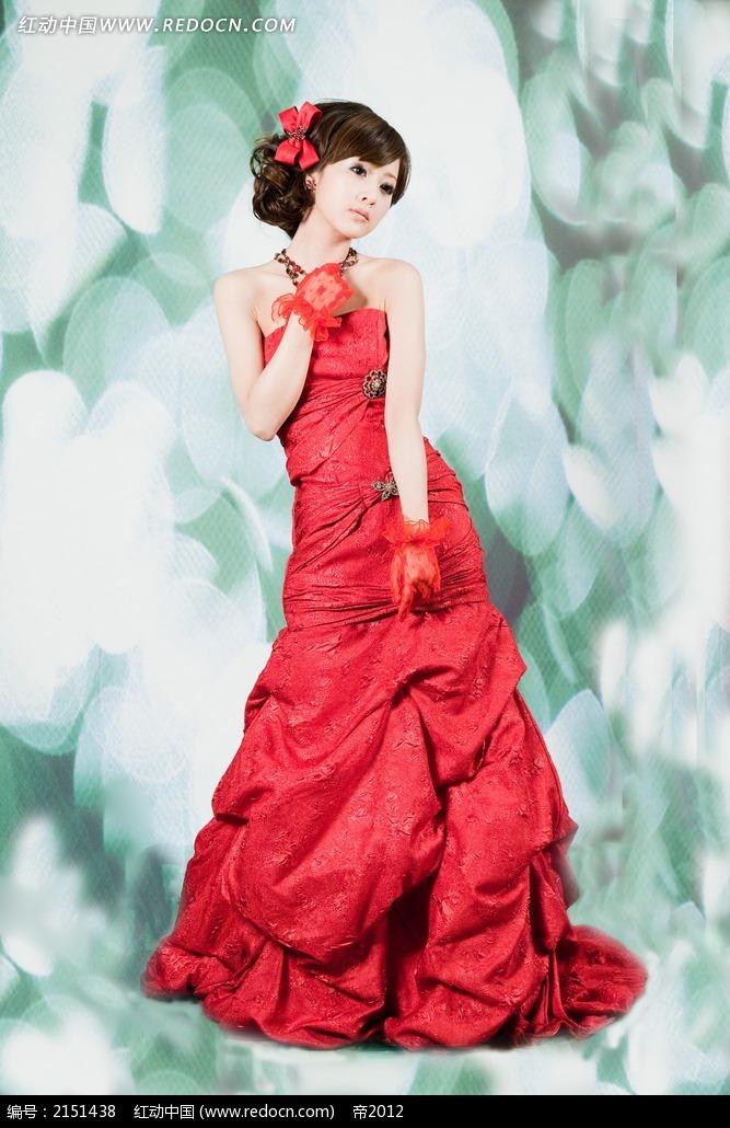 免费素材 图片素材 人物图片 女性女人 红色裙子美女写真摄影  请您分