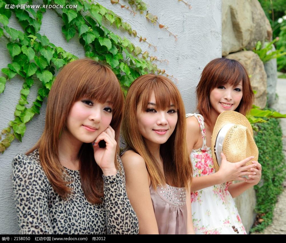 三个美女写真摄影图片 女性女人图片