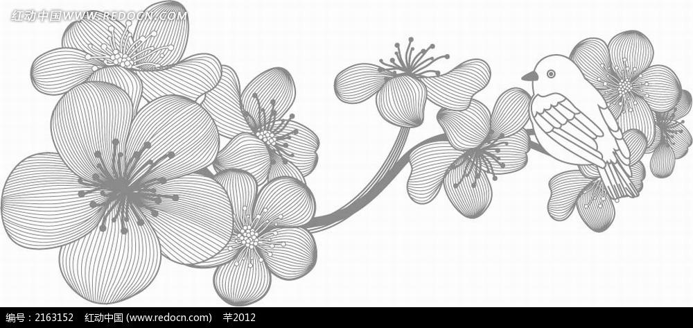 小鸟和杜鹃花黑白线描画EPS素材免费下载 编号2163152 红动网