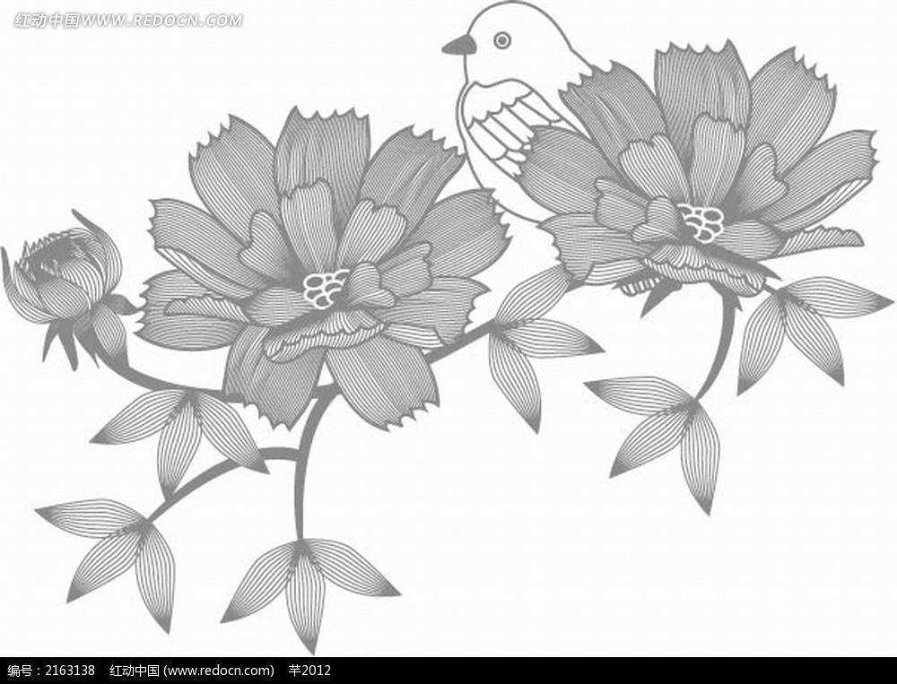 山茶花和小鸟黑白线描画EPS素材免费下载 编号2163138 红动网