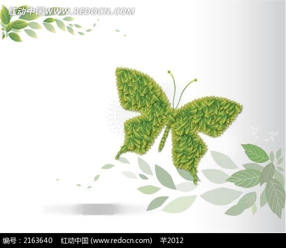 蝴蝶绿色树叶拼接插画图片