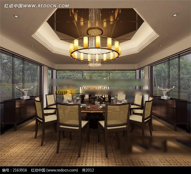 中式简约餐厅包厢效果图3dmax免费下载 室内设计素材高清图片