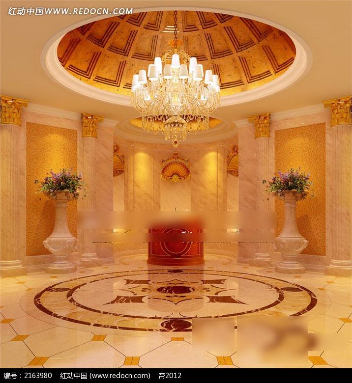 欧式灯效穹顶圆厅效果图图片