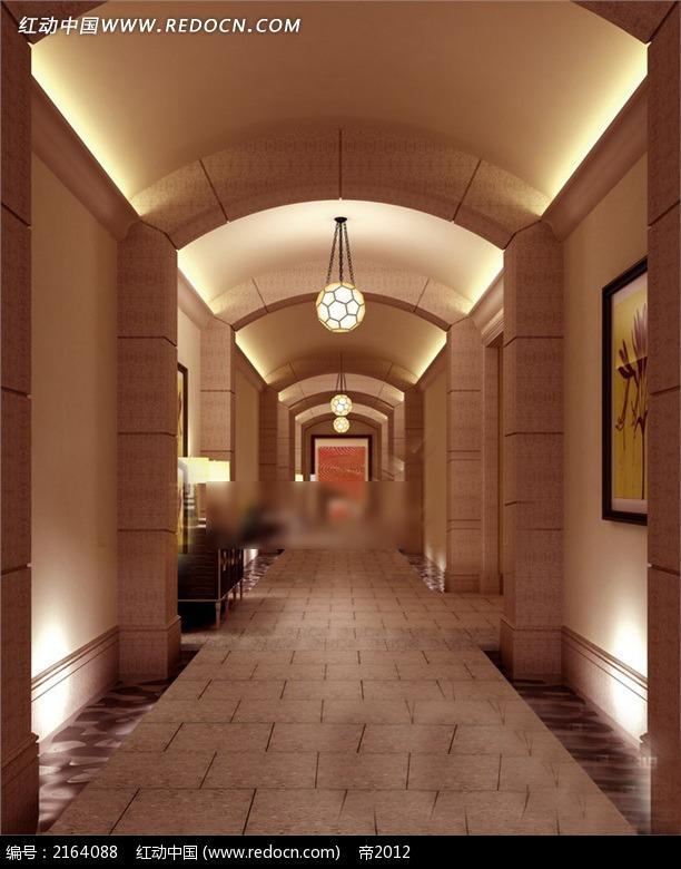 欧式简约壁画走廊效果图3dmax素材免费下载 编号2164088 红动网图片