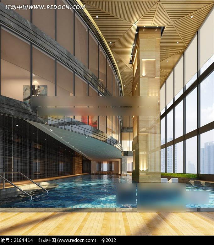免费素材 3d素材 3d模型 室内设计 酒店室内游泳馆效果图