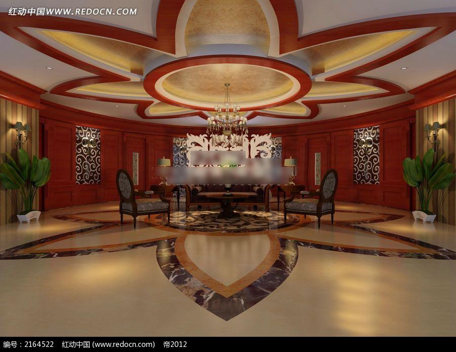 红色花朵吊顶会客厅3d室内模型