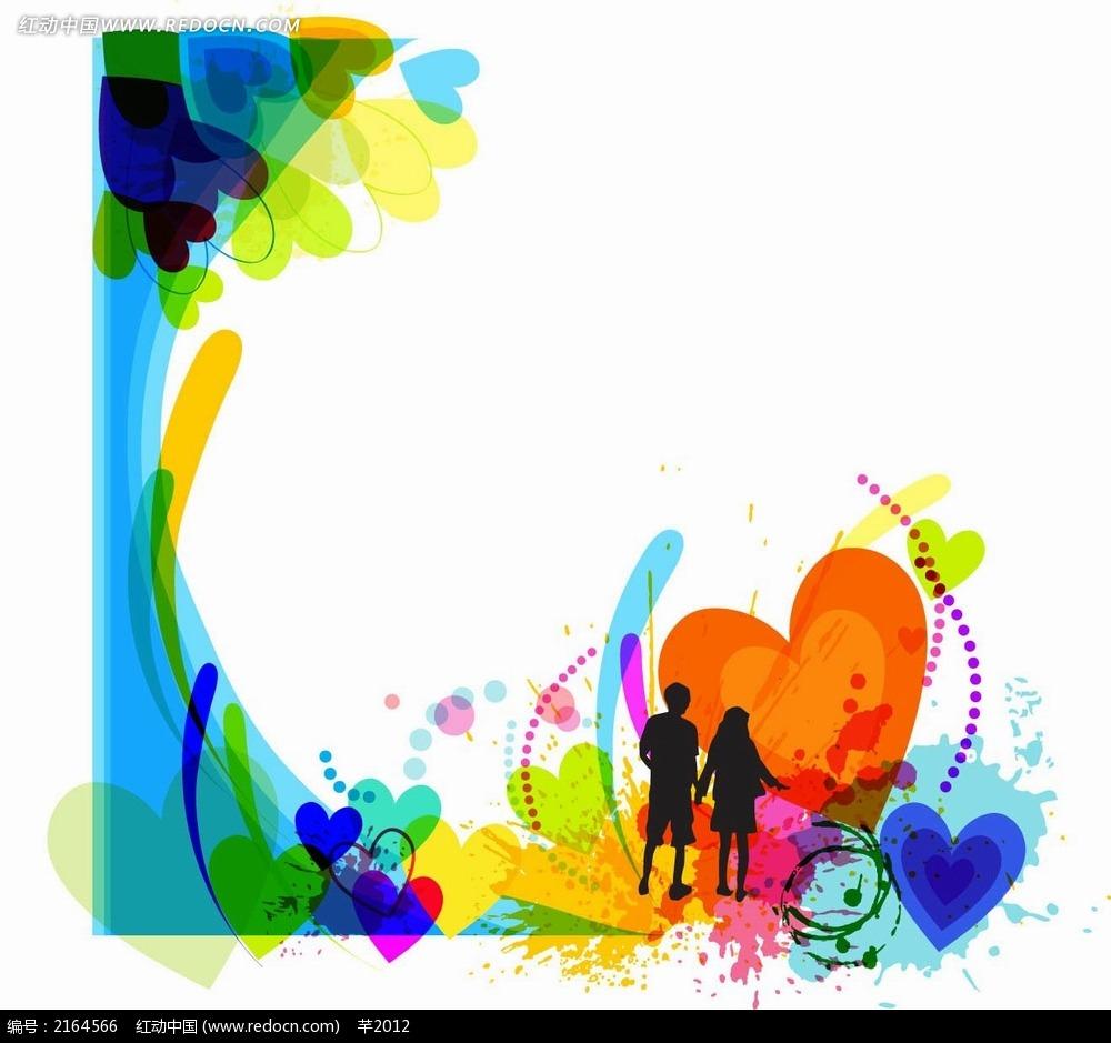 彩色花纹和人物剪影矢量背景