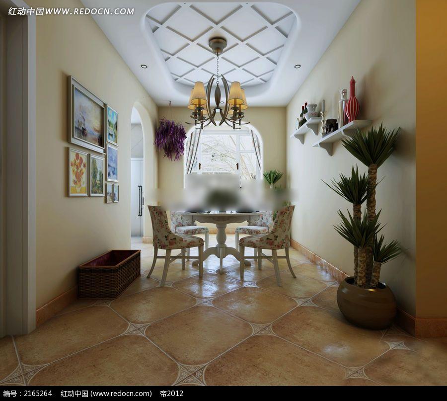 欧式田园风格饭厅效果图图片