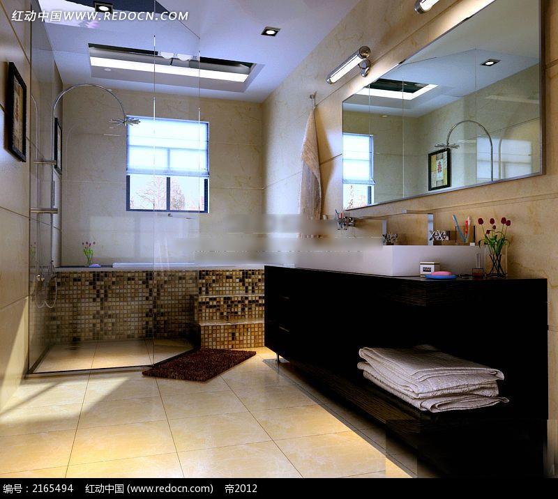 免费素材 3d素材 3d模型 室内设计 日式浴池洗手间效果图