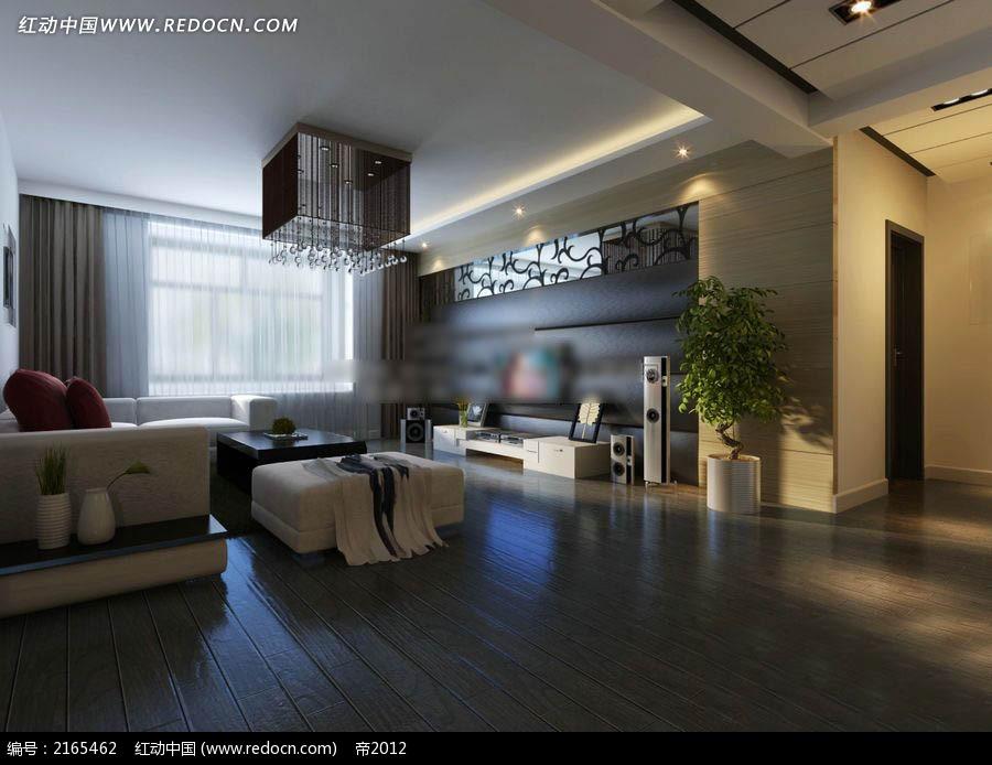 客厅装修效果图 现代家居装饰效果图 欧式背景墙 台灯 吊灯 地板