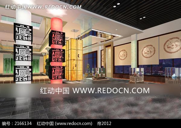 中式展厅室内效果图