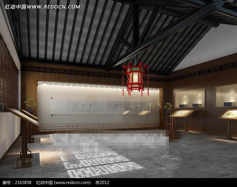 免费素材 3d素材 3d模型 室内设计 中式复古展厅设计效果图图片
